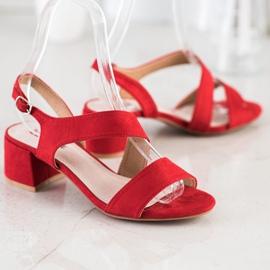 Kylie Czerwone Sandały Na Niskim Słupku 1
