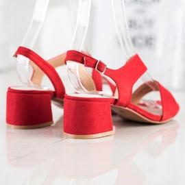 Kylie Czerwone Sandały Na Niskim Słupku 4