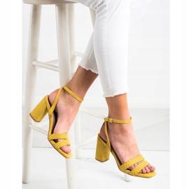 Kylie Zamszowe Sandałki Na Słupku żółte 3