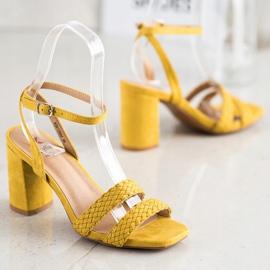 Kylie Zamszowe Sandałki Na Słupku żółte 1