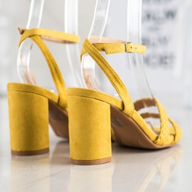 Kylie Zamszowe Sandałki Na Słupku żółte 4