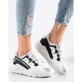 SHELOVET Sneakersy Z Ozdobną Platformą białe czarne srebrny szare 2