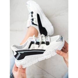 SHELOVET Sneakersy Z Ozdobną Platformą białe czarne srebrny szare 1