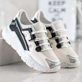 SHELOVET Sneakersy Z Ozdobną Platformą białe czarne srebrny szare 3