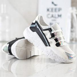 SHELOVET Sneakersy Z Ozdobną Platformą białe czarne srebrny szare 4