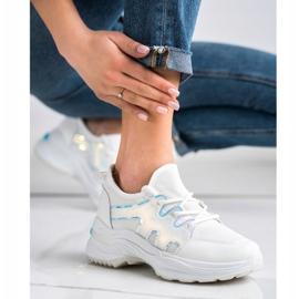 SHELOVET Wiosenne Sneakersy Z Efektem Holo białe 5