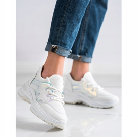 SHELOVET Wiosenne Sneakersy Z Efektem Holo białe 2