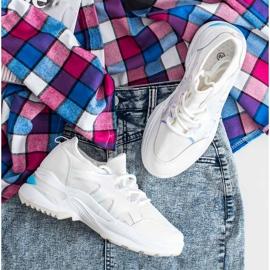 SHELOVET Wiosenne Sneakersy Z Efektem Holo białe 1