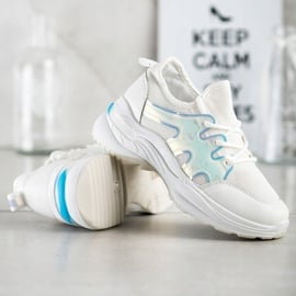 SHELOVET Wiosenne Sneakersy Z Efektem Holo białe 3
