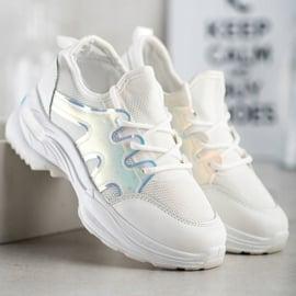 SHELOVET Wiosenne Sneakersy Z Efektem Holo białe 4