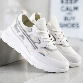 SHELOVET Casualowe Białe Sneakersy szare 1