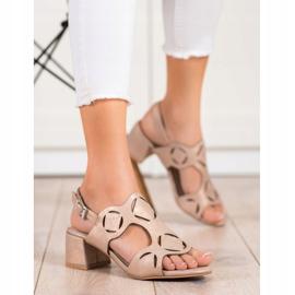 Kylie Eleganckie Sandały Z Ażurowym Wzorem brązowe 1