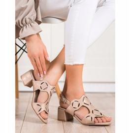 Kylie Eleganckie Sandały Z Ażurowym Wzorem brązowe 2