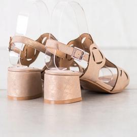 Kylie Eleganckie Sandały Z Ażurowym Wzorem brązowe 3