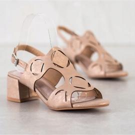 Kylie Eleganckie Sandały Z Ażurowym Wzorem brązowe 4