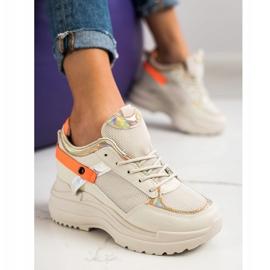 Marquiz Sneakersy Na Koturnie beżowy pomarańczowe złoty 3