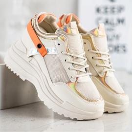 Marquiz Sneakersy Na Koturnie beżowy pomarańczowe złoty 1