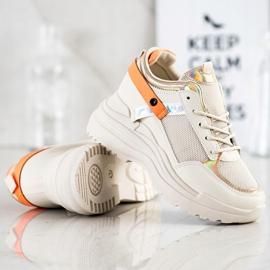 Marquiz Sneakersy Na Koturnie beżowy pomarańczowe złoty 2