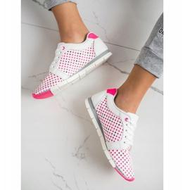 Kylie Biało-różowe Ażurowe Sneakersy białe 2