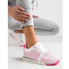 Kylie Biało-różowe Ażurowe Sneakersy białe 1