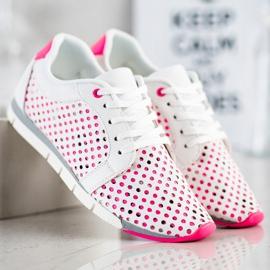 Kylie Biało-różowe Ażurowe Sneakersy białe 3