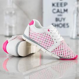 Kylie Biało-różowe Ażurowe Sneakersy białe 4