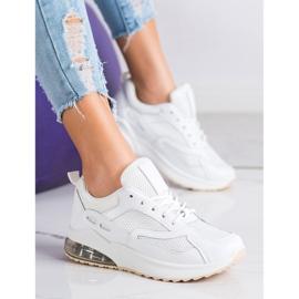 SHELOVET Białe Sneakersy Z Siateczką 4