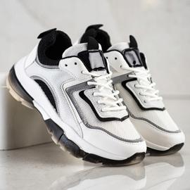Ideal Shoes Sneakersy Z Brokatową Wstawką białe 3