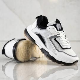 Ideal Shoes Sneakersy Z Brokatową Wstawką białe 4