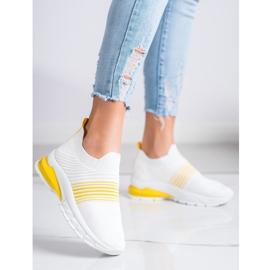 SHELOVET Wiosenne Ażurowe Sneakersy białe żółte 1