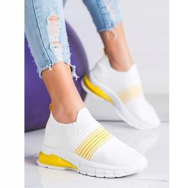 SHELOVET Wiosenne Ażurowe Sneakersy białe żółte 4