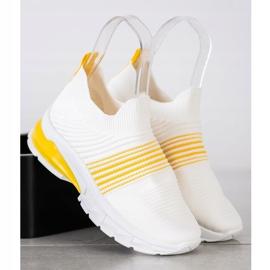 SHELOVET Wiosenne Ażurowe Sneakersy białe żółte 2