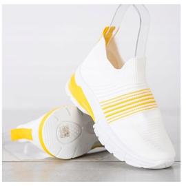 SHELOVET Wiosenne Ażurowe Sneakersy białe żółte 3