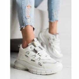 SHELOVET Stylowe Sneakersy Z Eko Skóry białe 6