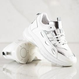SHELOVET Stylowe Sneakersy Z Eko Skóry białe 4