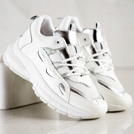 SHELOVET Stylowe Sneakersy Z Eko Skóry białe 5