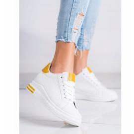 Ideal Shoes Wiosenne Sneakersy Na Koturnie białe żółte 4