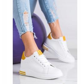 Ideal Shoes Wiosenne Sneakersy Na Koturnie białe żółte 1