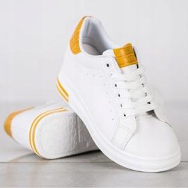 Ideal Shoes Wiosenne Sneakersy Na Koturnie białe żółte 2