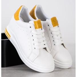 Ideal Shoes Wiosenne Sneakersy Na Koturnie białe żółte 3