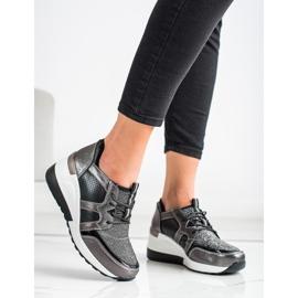 Błyszczące Sneakersy Ze Skóry VINCEZA czarne srebrny 1