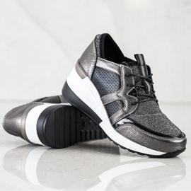 Błyszczące Sneakersy Ze Skóry VINCEZA czarne srebrny 2