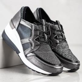 Błyszczące Sneakersy Ze Skóry VINCEZA czarne srebrny 3