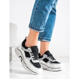 SHELOVET Wygodne Sportowe Sneakersy białe czarne srebrny 4