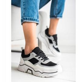 SHELOVET Wygodne Sportowe Sneakersy białe czarne srebrny 3