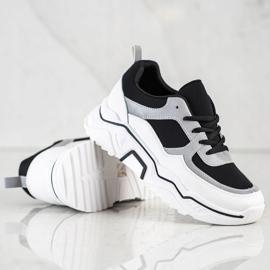SHELOVET Wygodne Sportowe Sneakersy białe czarne srebrny 1