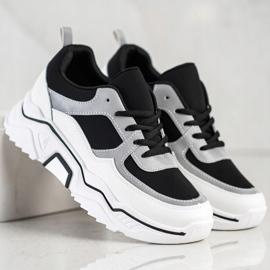 SHELOVET Wygodne Sportowe Sneakersy białe czarne srebrny 2