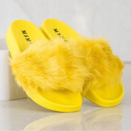 SHELOVET Gumowe Klapki Z Futerkiem żółte 1