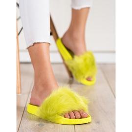 SHELOVET Gumowe Klapki Z Futerkiem zielone żółte 3