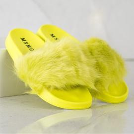 SHELOVET Gumowe Klapki Z Futerkiem zielone żółte 1